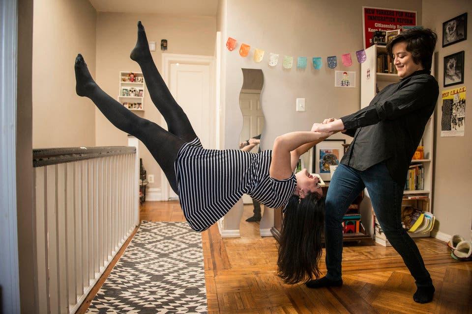 NEW YORK, NY - JANUARY 21:  Alexandra Nichole Salazar and Nayeli Portillo pose for a levitation portrait in New York on Jan. 21, 2016. (Photo by Damon Dahlen, Huffington Post) *** Local Caption ***