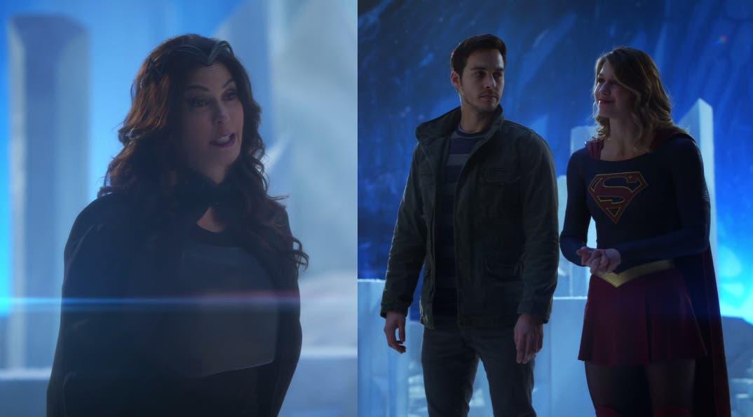 Kara y Mon-El con Rhea