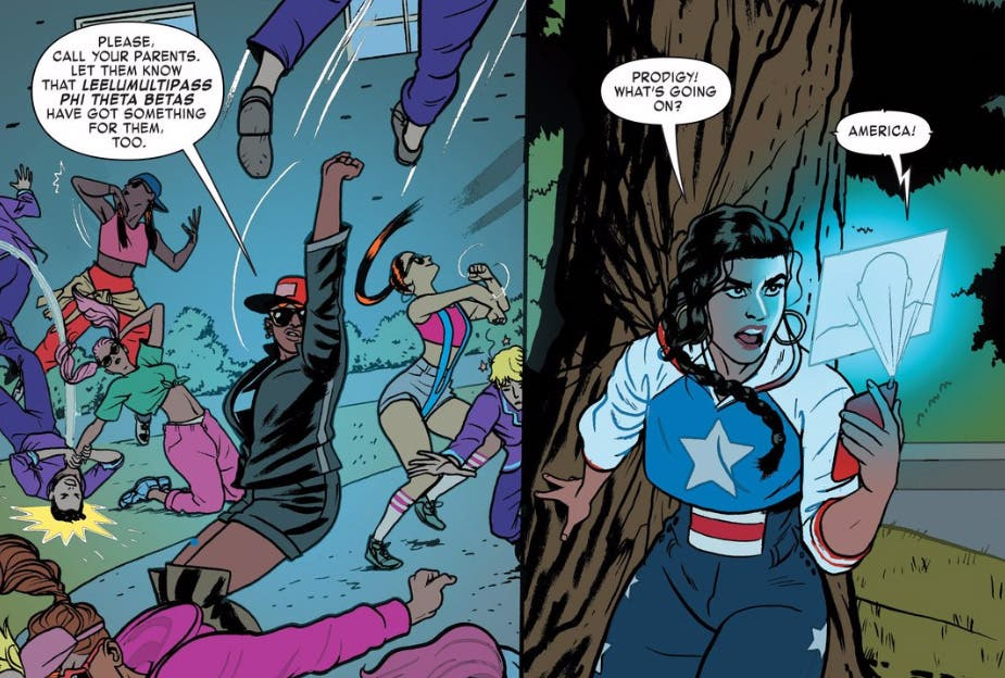 America Chavez luchando junta a las leelumultipass phi theta betas