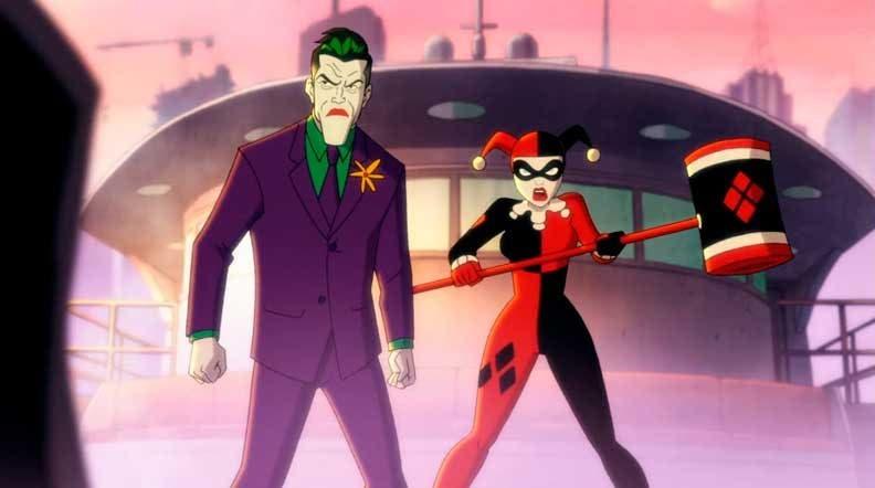 Harley Quinn y el Joker luchando contra Batman